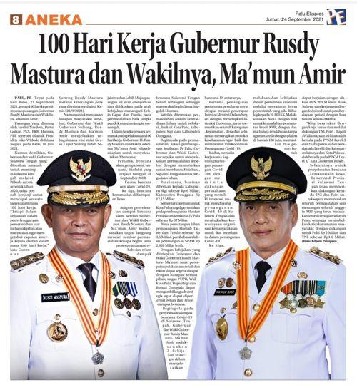 100 Hari Kerja Gubernur dan Wakil Gubernur Sulawesi Tengah, H. Rusdi Mastura dan Ma'mun Amir